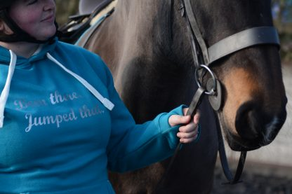 Vie of a jumping hoodie and a horse