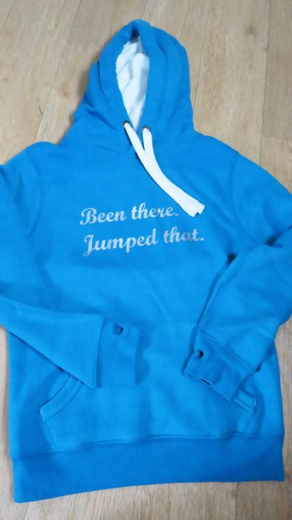 blue hoodie with silver text