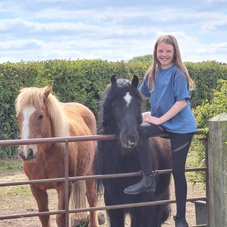 girl in blue t-shirt with horses