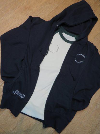 Zip hoodie and cream t shirt