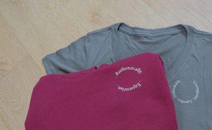burgundy hoodie and grey tshirt